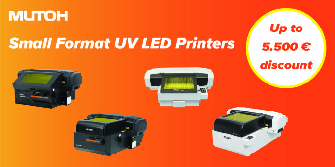 Be great with a Mutoh A3/A2 desktop UV LED printer !